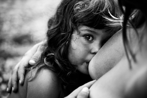 Đẹp ngỡ ngàng hình ảnh em bé bên bầu sữa mẹ
